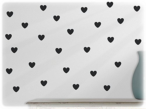 Preisvergleich Produktbild wandfabrik - Wandtattoo - 60 praktische Herzen in schwarz