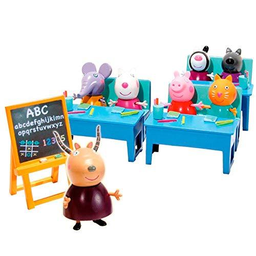 Peppa Pig en el cole con amigos incluye 7 figuras y 3 pupitres 30.5 x 17.8 x 12.7 Bandai 84213