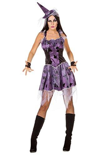 Karneval Klamotten Hexenkostüm Damen lila-schwarz Damen-Kostüm sexy Hexe mit Hexenhut 36 (Sexy Zauberin Hexe Kostüme)