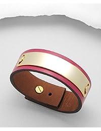 BrendaStyle Bijoux Bracelet Pour Femme En Cuir Rose Pour - Réglable (15-17.5cm)
