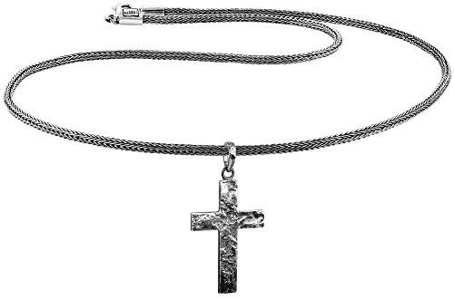 KUZZOI Herren Silber-Halskette mit Kreuz-Anhänger, 925er Sterling Silber oxidiert, Länge 50cm, Königskette Herrenkette mit Anhänger, sehr hochwertig und handgearbeitet, ZOI-018