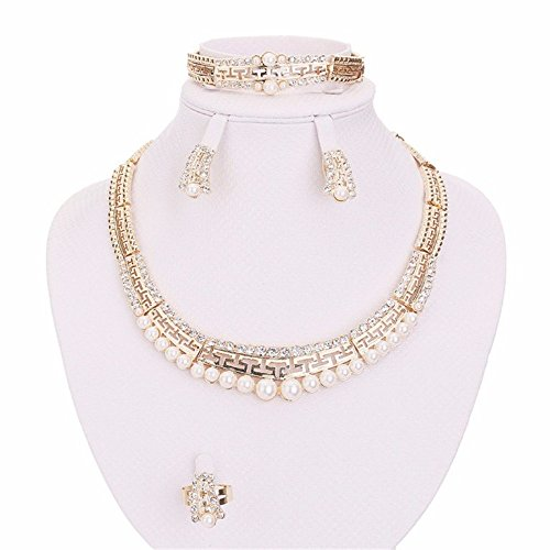 Moochi 18K Gold Plated Simulated Pearls Great Wall Pattern Necklace Earrings Bracelet Jewelry Set Wedding Party Show