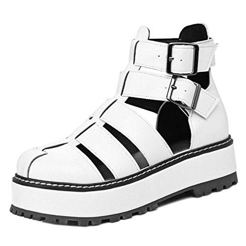 TAOFFEN Femmes Chaussures Mode Enveloppement De Cheville Plateforme Sandales Blanc