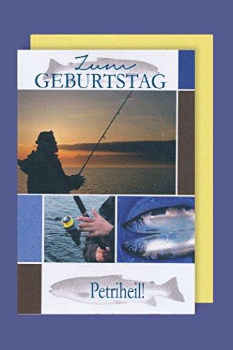 Angler Geburtstag Karte Grußkarte Meer Petri Heil 16x11cm