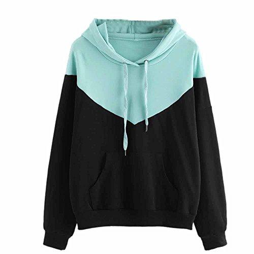 (Kapuzenpullover Damen Sunnyadrain Design Baumwoll Patchwork Pure Farbe Pullover Sweatshirt Tops Lange Ärmel Outerwear Herbst Frauen-Damen)