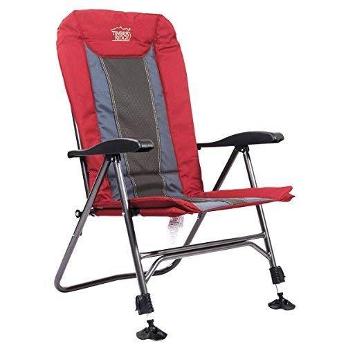 Timber Ridge stuhl folding heavy duty camping mit verstellbaren liege padded rücken und beine unterstützt 300lbs lava (Tragbare Stuhl Unterstützt Den Rücken)