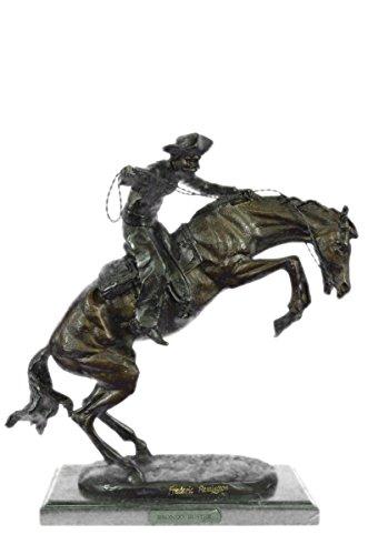 Selten Handgemachte Bronze Skulptur Bronze Statue Große Frederick Remington Bronco Buster auf Marmorständer Decor-EU57776- Decor Sammler Geschenk (Frederick Remington Bronze)