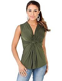 KRISP® Women Sleeveless Knot Front Tops V Neck Ruched Vest Blouse