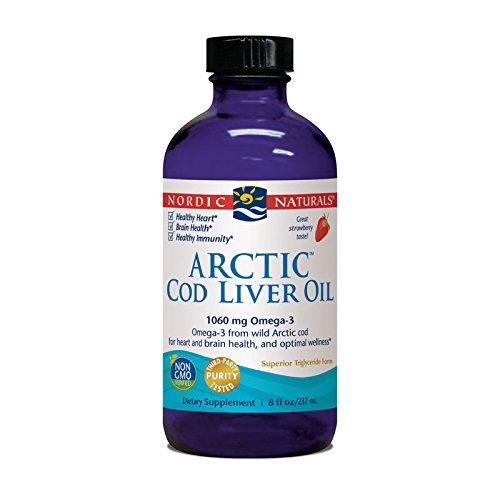Aceite de hígado de bacalao ártico, fresa, oz fl 8 (237 ml) - Natura