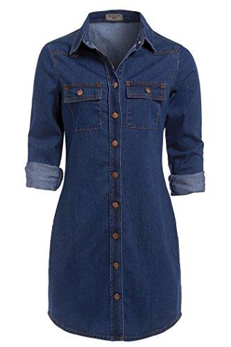 SS7 neuf rétro Bleu Denim Robe Chemise Tailles 34 - 14 Vintage Jeans