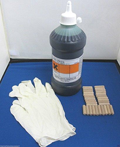 Preisvergleich Produktbild One Shot Polyurethan-Wohnwagenboden-Reparatursatz,  selbstklebend,  grün,  inkl. 30 Dübel,  Spritze und Latex-Handschuhen