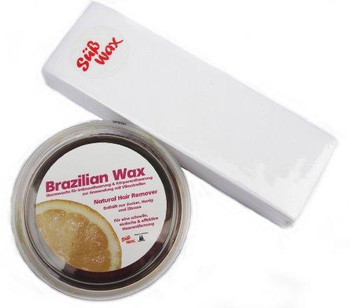 400G Dolce Wax Brazilian Wax per la depilazione con tessuto non tessuto 100% naturale. Di cera calda in zucchero, Miele e limone. Bikini Wax pasta di zucchero + 100strisce in tessuto non tessuto