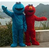 Trajes de la mascota de Elmo de Plaza Sésamo largo rojo del monstruo peludo rojo de Halloween de la mascota s disfraces de dibujos animados (L)