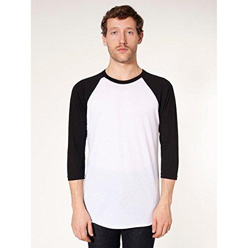american-apparel-maglietta-con-maniche-a-contrasto-unisex-l-bianco-nero