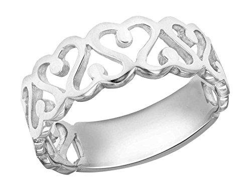 Tuscany Silver Damen Sterling Silber Überzogen mit Rhodium Swirl Herz Cut-Out Ring N International Silver Swirl