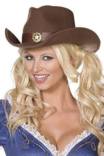 Cowboy-Hut Braun Filz mit goldenem Stern verziert, One Size ()