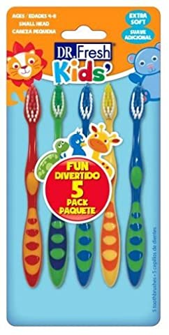 Dr. Fresh Kids Fun 5 Pack of Toothbrushes, Ages 3-8, Extra Soft