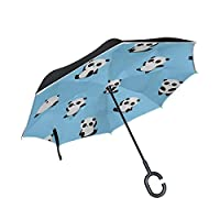 Chinese Cute Small Panda for Child Double Layer Folding Anti Uv Protection Waterproof Windproof Straight Cars Golf Reverse Inverted Umbrella Stand with C-Shaped Handle for Car Rain Outdoor