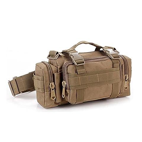 tailcas® 600D imperméable tactique Utility Taille Sac de Pochette Sac à bandoulière Sac à main Randonnée/Camping/Militaire Sport Outdoor Sac multiusage, spécialement conçu pour les garçons/Ado/hommes Marron Kaki Tactical Waist Pack