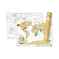 Scratch Map Travel Map - Travel Sized Personalized Scratch Off World map Poster, Manufactured in The UK