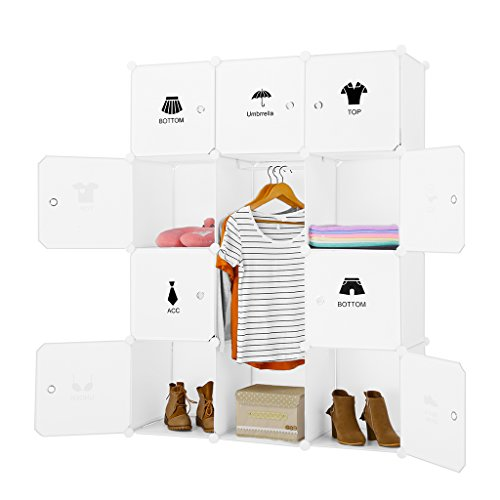 LANGRIA Armario Modular Organizador Convertible de 12 Cubos con Puertas, 1 Barra para Colgar Ropa, Pegatinas Adhesivas Decorativas, Mueble Organizador Ropa, Zapatos, Accesorios, Juguetes (Blanco)