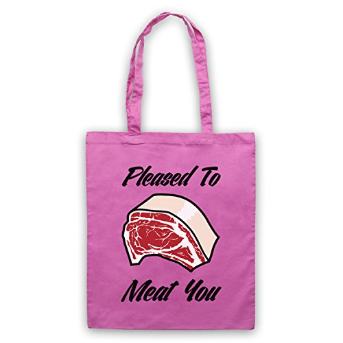 Pleased To Meat You Funny Slogan Umhangetaschen Rosa