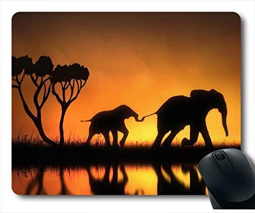 Yanteng Alfombrilla de ratón con Dos Elefantes Caminando en el Camino bajo...