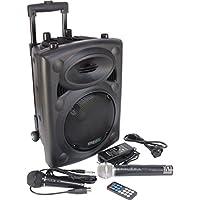 Ibiza Port8VHF-N DJ PA Karaoke Anlage mobile PA-Box Lautsprecherbox (Akku-Betrieb, Trolley, Mp3-fähige USB-SD-Slots, 400W, Fernbedienung, 2x Mikrofon) schwarz