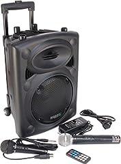 Idea Regalo - Ibiza PORT8VHF-BT-WH Impianto audio portatile cassa attiva (400 Watt, ingressi USB SD MP3, 2 microfoni, batteria integrata, telecomando), nero