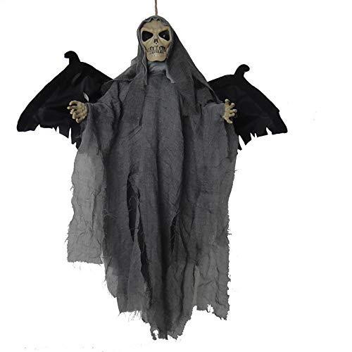 Mmsww Halloween Dekorative Flügel Fledermaus Ghost Hängende Geisterstimme-Aktivierte Licht Aufstacheln Flügel Horror Haunted Haus Zimmer Escape Trick Requisiten,Gray