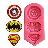 Moule 3D en silicone logo Superman, Captain America Batman Superman Pochoir Sugarcraft, Gummies, Chocolat, Chewing Gum, Massepan, Argile Artisanat, Fondant Gâteau Moule DIY Cuisine Outils de Cuisson