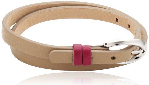 Esprit Damen Armband Edelstahl Leder 38 cm beige ESBR11336C380