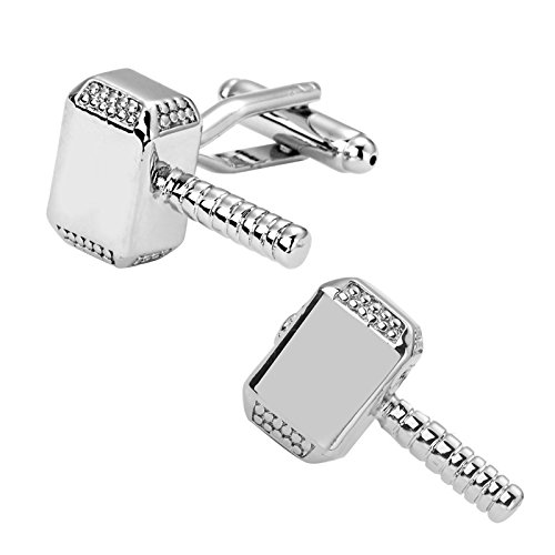 Ss Silver Thor Hammer Cufflinks for Men  available at amazon for Rs.999