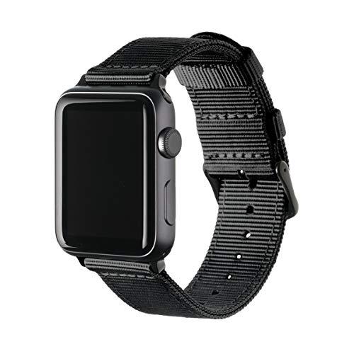 Archer Watch Straps Nylon Uhrenarmband für Apple Watch - Schwarz/Schwarz, 42mm