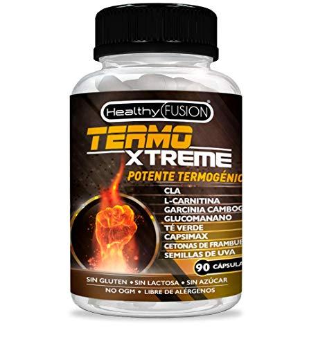 TermoXtreme | Termogénico con acción quemagrasas | Garcinia cambogia + l-carnitina + CLA + glucomanano + té verde | Estimula el metabolismo, reduce el apetito y mejora tus entrenamientos | 90 cápsulas