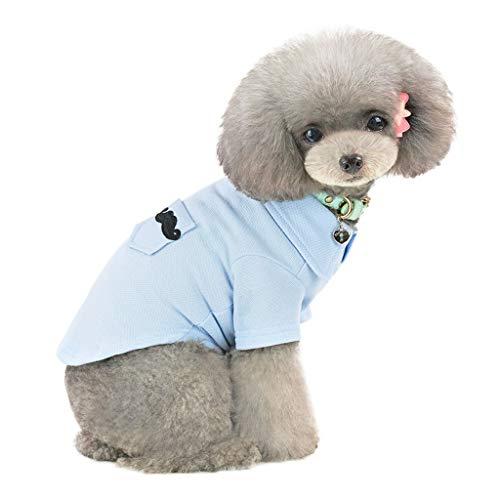 T.boys's Haustier Hundebekleidung Hund T-Shirt Baumwoll-Polo-Shirt für kleine Hunde, einfarbig, weich, bequem, für den Sommer (S, Blue) -