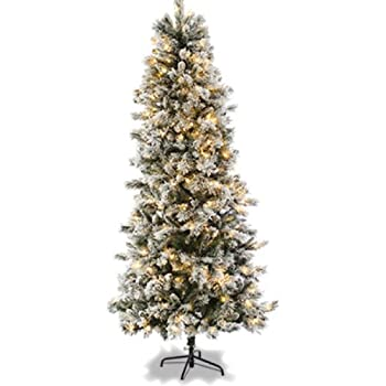7Ft Slim Flocked Spruce Pre-Lit Christmas Tree: Amazon.co.uk ...