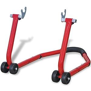 vidaXL vidaXL Support de roue arrière pour moto motocycle Rouge Béquille d'atelier motopas cher