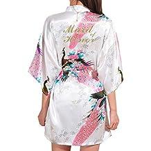 Kunfang Mujeres Floral Peacock Kimono Bata de Baño Ropa de Dormir de Rayon Dama de Honor