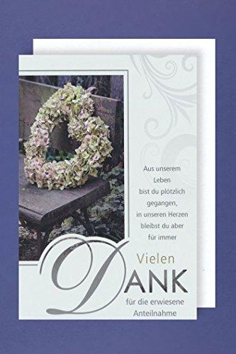 Trauer Danksagung 5er Mehrstückpackung Danke Blumenkranz 5 Karten 15x11cm