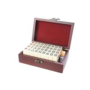 Quantum Abacus Set de Mahjong / mah-jongg, Piezas de imitación de Marfil Blanco en una Fina Caja de Madera (17cm x 11cm…