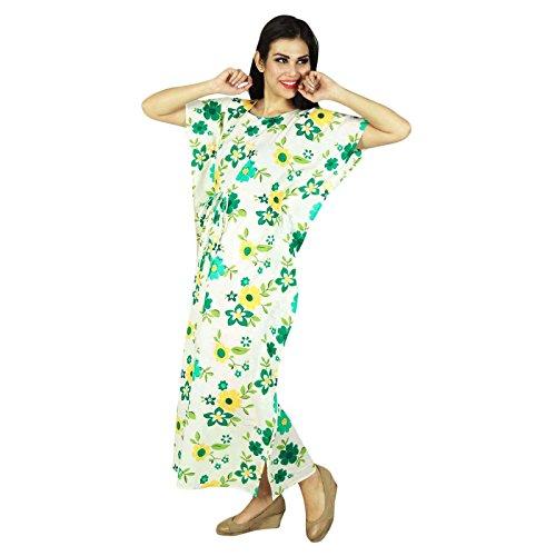Phagun Bohemian Robe Imprimée En Coton Caftan Maxi Pyjamas De Blanc Et Jaune