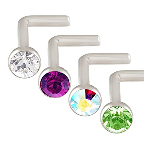 L-Shaped Nose Ring 18g Surgical Grade 316L Stainless Steel Nostril Piercing Studs Swarovski Crystal Color Mixed - Pack of 4 - Clear, Amethyst, Aurora borealis, Peridot