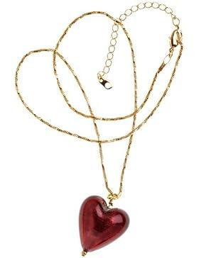 Bellissi Murano Venezia Halskette, vergoldet, 46cm, mit Herz-Anhänger aus Muranoglas, dunkler Amethyst