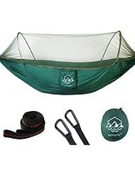 SUMGOTT Hamaca para Acampar con Mosquitero Capacidad de Carga de 300 Kg (290 x 140 Cm), Hamaca para 2 Personas para Excursiones al Aire Libre Mochilero Viajar (Verde)