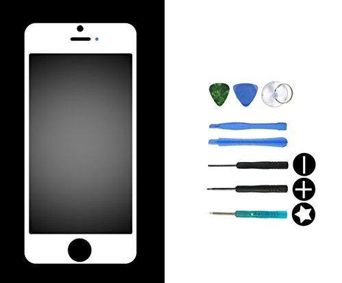IPRIME Displayglas Ersatzglas Frontglas Display Glas Frontscheibe Austausch Reparaturset mit 8-teiligem Werkzeugset + Klebepads kompatibel mit iPhone 5/5s/5c - Weiß - 5s Glas Ersatz Iphone