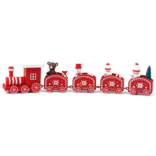 Comtervi Weihnachten deko,Weihnachten Zug/fünf Knoten Kleiner Zug, Weihnachtskarikatur, Geschenke der Kinder, hölzerne Fensterdekorationen (Weihnachten Zug Dekorationen)