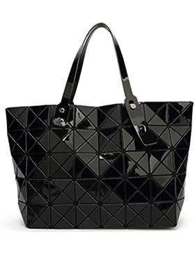 Lalang Frauen Folding Stil Geometrische Diamant Beutel Schulter Beutel Messenger Handtasche Large Bag (Schwarz)