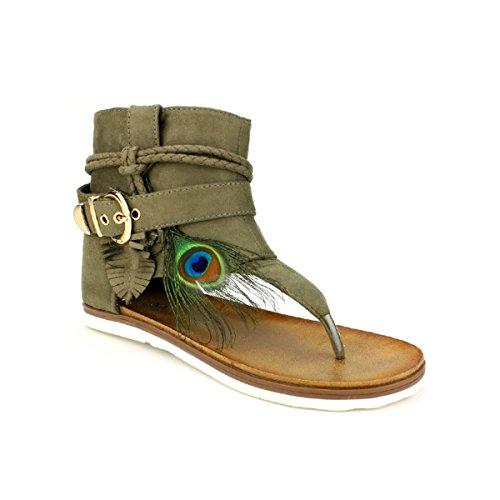 Cendriyon, Tongs Colors Kaki C'M Moda Chaussures Femme Kaki