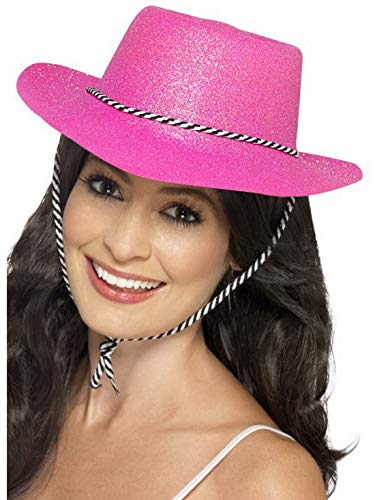costumebakery - Kostüm Accessoires Zubehör Damen Herren Western Glitzer Cowboy Cowgirl Hut mit Kordel, perfekt für Karneval, Fasching und Fastnacht, Neonpink